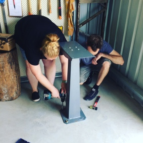 2016 Katie and Alex bolting down the rolling mill in the new studio